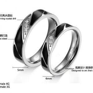 His & Her Crystal Ring Black Enamel..
