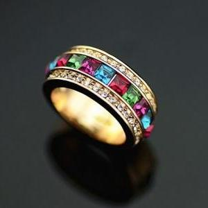 18K YGP Multi Color Pave setting Austrian Crystal Band Ring