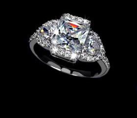 SALE - White Gold Rhodium Plated Princess Cut w/ 2 heart shapes CZ on both sides Halo Engagement Ring - sizes 5.5 to 9