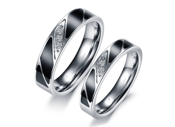 His & Her Crystal Ring Black Enamel Titanium Couple Ring Band Set for Anniversary - Engagement (available from sizes 5 - 12)