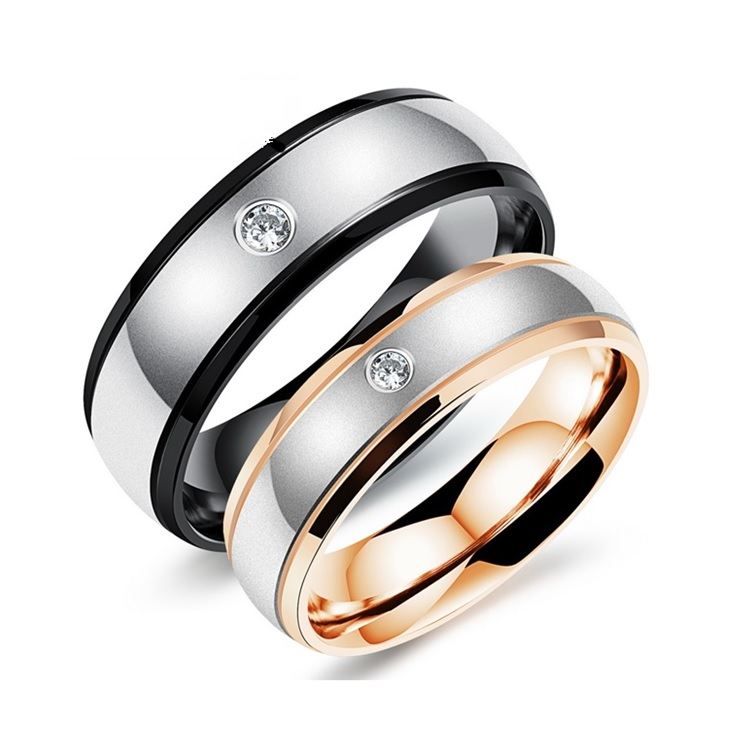 Her & Him Promise Ring Band with Austrian Crystal- available sizes from 5 thru 10