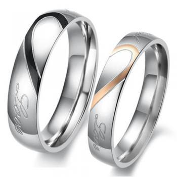 2 pcs - Him & Her Heart-Shaped Matching Couple Ring Set - Promise Ring (avail sizes 5 thru 15)
