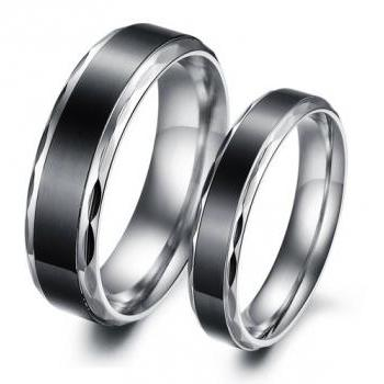 His & Her Matching Titanium Couple Ring Band Set - (available from sizes 5 - 10)