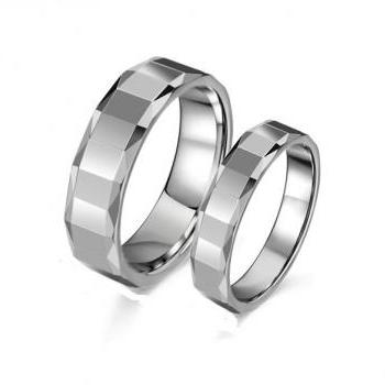 Tungsten Stainless Steel Eternity Couple Ring Band for Him & Her - Promise Ring Band (Sz 5 - 10)