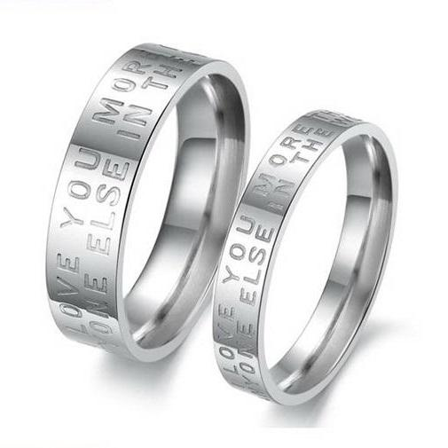 Couple Stainless Steel Ring Set - Promise Ring, Lovers Ring (available from sizes 5 - 10)