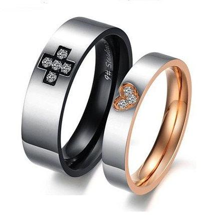 Matching Couple Ring Bands - Cross & Heart Engraved Couples Rings; Relationship Jewelry; Trending Anniversary Gift Ideas