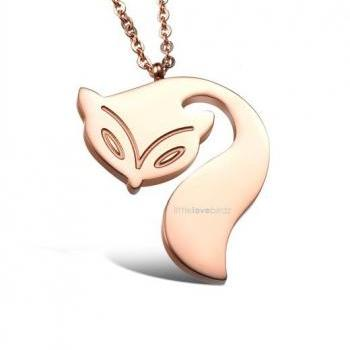 Rose Gold Fox Tail Necklace