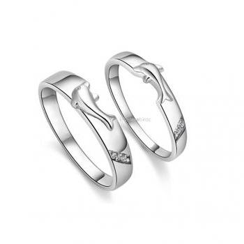 Dolphin Couple Love Ring Band Set - For Him and For Her