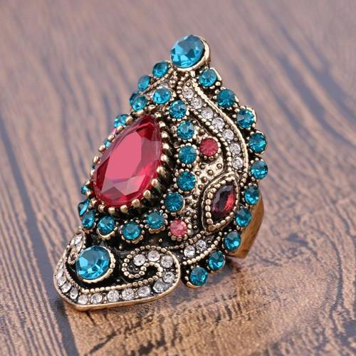 Luxurious Turkish Pink Mosaic Sapphire Crystal Ring - sizes 7, 8, 9, 10