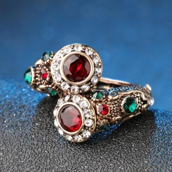 Luxurious, OOAK, Unique Turkish Dual Design Mosaic Ruby Crystal Ring - sizes 7, 8, 9, 10